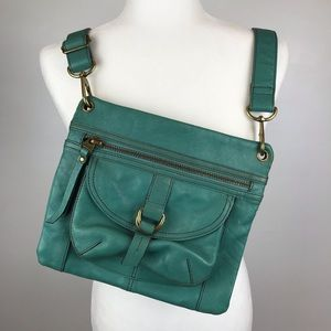 FOSSIL GENUINE Leather Crossbody Purse Green